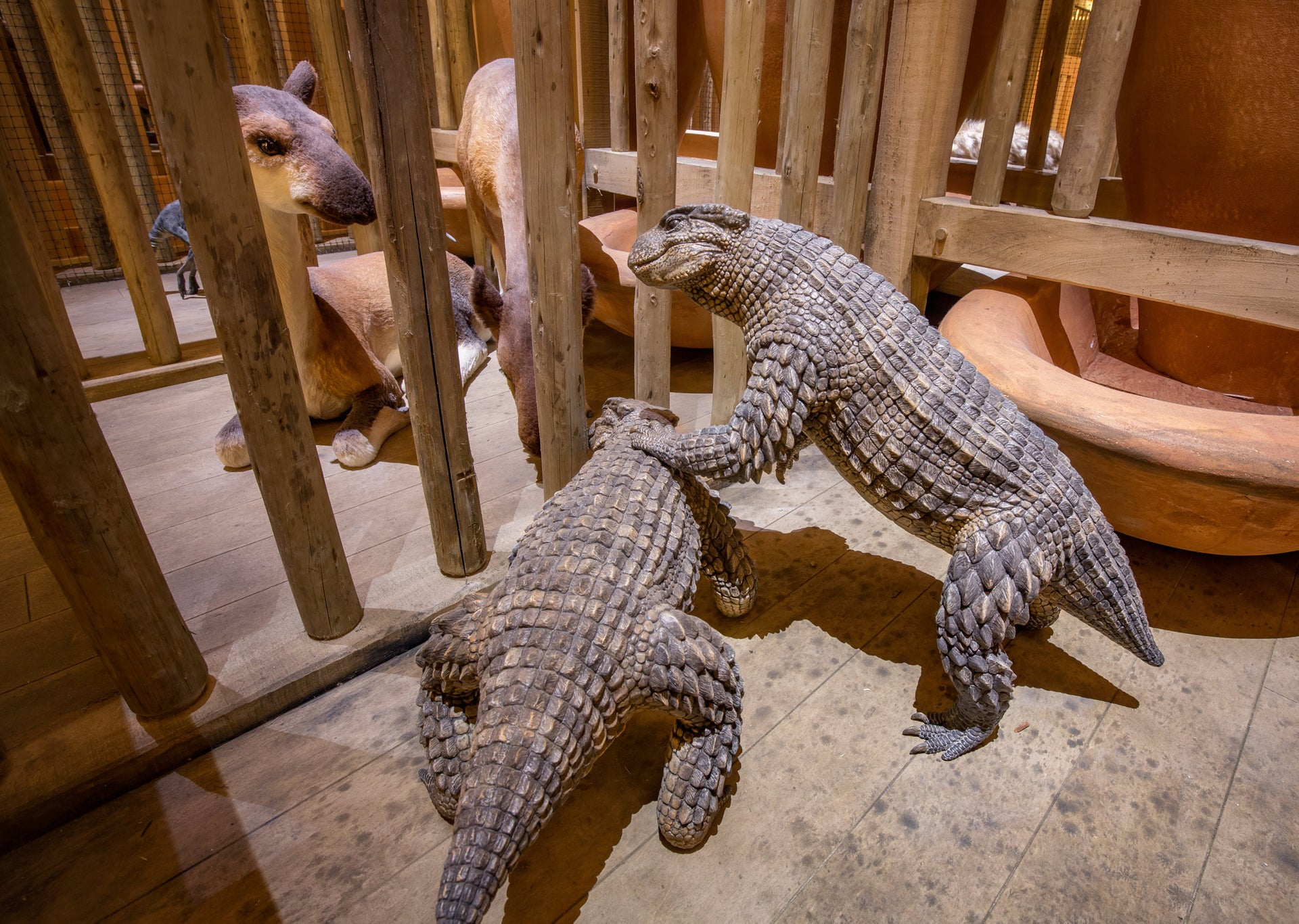 Lifelike pairs of animals in the recreated Noah's Ark.