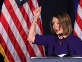 U.S. House Minority Leader Nancy Pelosi celebrates the Democrats winning a majority in the U.S. House of Representatives in the U.S. midterm elections during a Democratic election night party in Washington, U.S. November 6, 2018