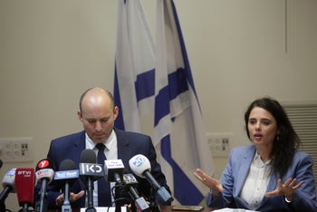 Justice Minister Ayelet Shaked and Education Minister Naftali Bennett.