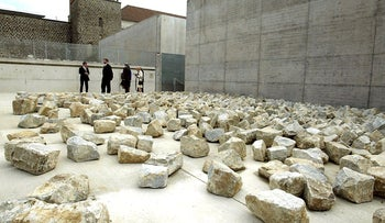 Stones in front of the new visitor center of the former Nazi concentration camp Mauthausen, west of Vienna, Austria, which opened on May 11, 2003.