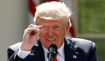 U.S. President Donald Trump as he announces his decision that the United States will withdraw from the landmark Paris Climate Agreement, in the Rose Garden of the White House in Washington, June 1, 2017.