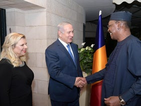 Prime Minister Benjamin Netanyahu and his wife Sara meeting the president of Chad, Idriss Déby, in Jerusalem, November 25, 2018.