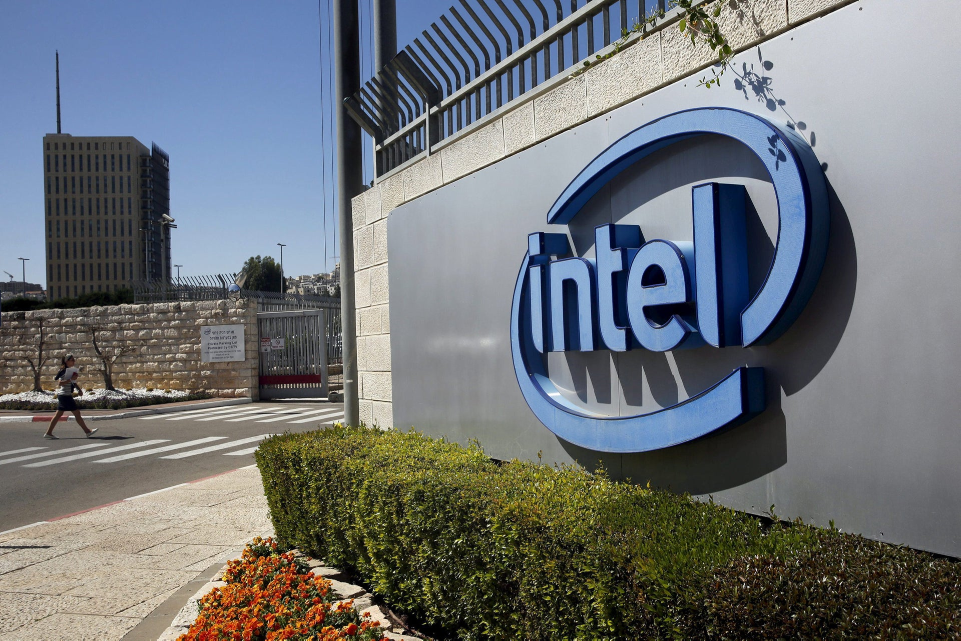 The logo of Intel, the world's largest chipmaker is seen at their offices in Jerusalem.