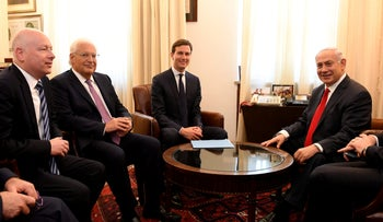 A meeting between Jared Kushner, Jason Greenblatt, David Friedman and Prime Minister Benjamin Netanyahu, at the U.S. Embassy in Tel Aviv, June 21, 2017.