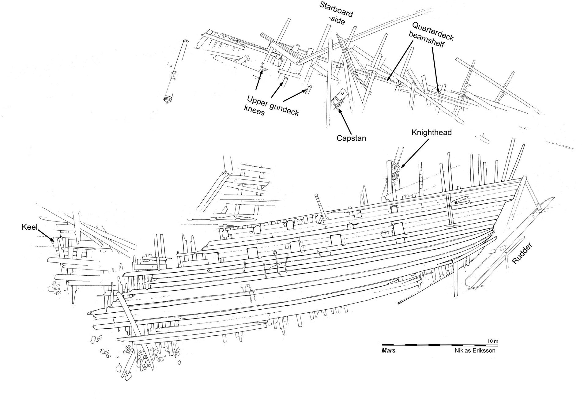 Preliminary site plan. The exploded bow is to the left and the remaining hull has broken into three more or less coherent parts. Showing a notch in the wale for the bracket that supported the channel, chains from the shrouds, and the foremost toptimber from the sterncastle