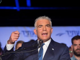 Yesh Atid Chairman Yair Lapid speaking at a conference in Tel Aviv, September 2018.