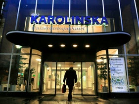The entrance to Karolinska University Hospital in Stockholm, Sweden.