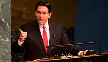 Israel's Ambassador to the United Nations Danny Danon speaks to the General Assembly before a vote in the General Assembly in New York, on June 13, 2018.