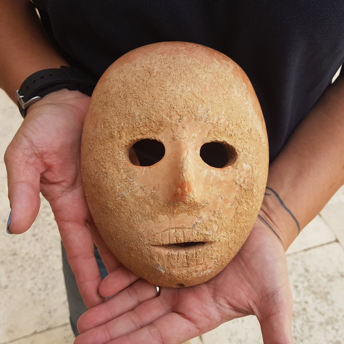 The 9,000-year-old mask found in the Hebron hills by a settler going for a walk.