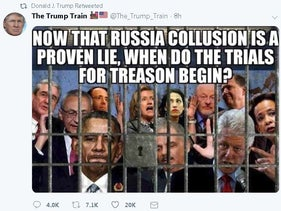 Image from Donald Trump's official Twitter feed showing a retweet of meme in which Trump's political opponents are behind bars