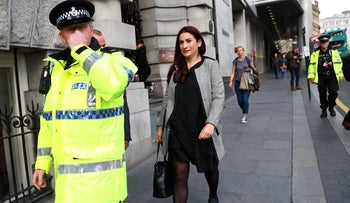 Labour MP Luciana Berger, whose been targeted by vicious and misogynistic anti-Semitism fro far left and far right, at the annual Labour Party Conference, accompanied by police protection. Liverpool, September 23, 2018