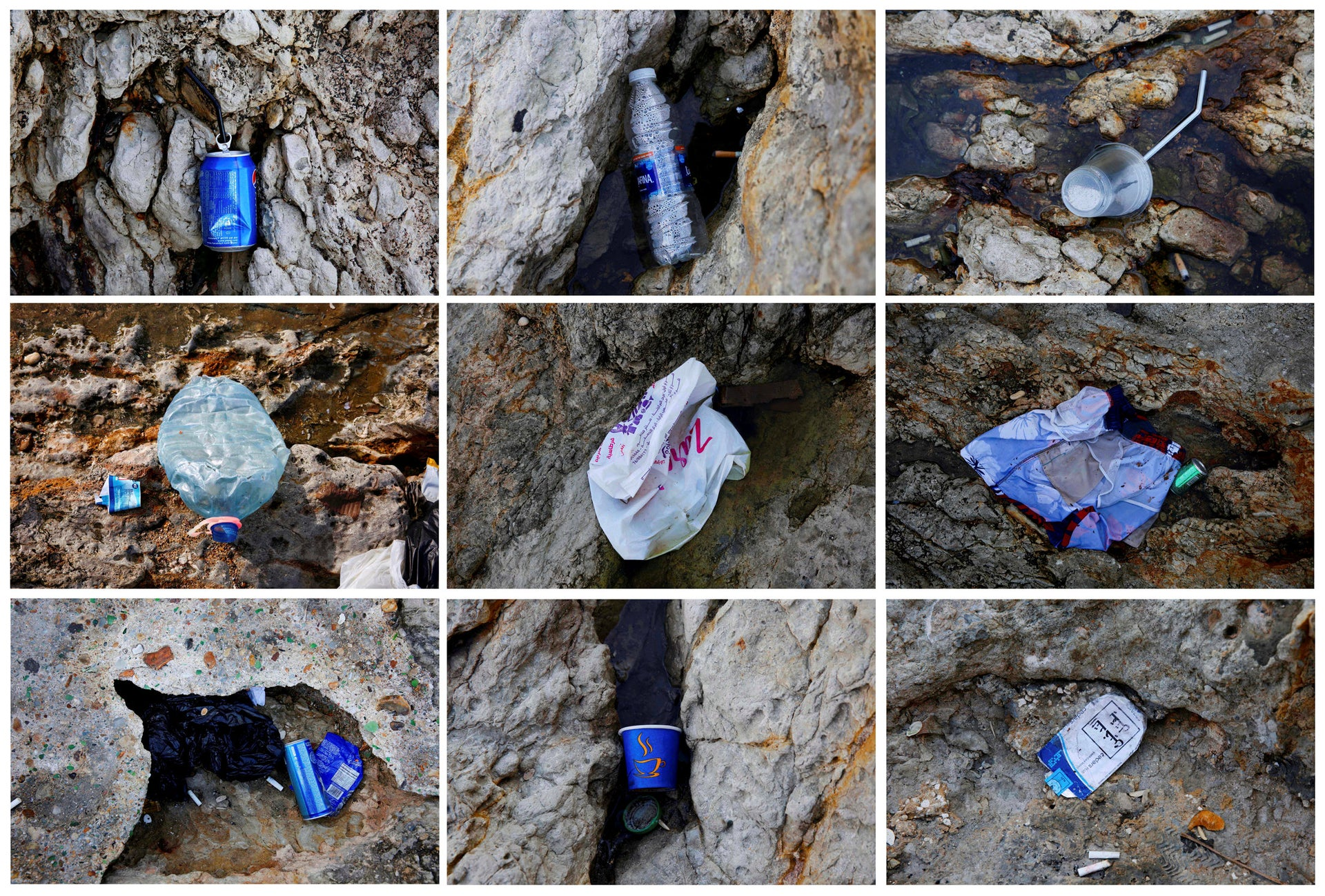 COMBO- This combination of nine photographs taken on Friday, Nov. 16, 2018 photo shows items of trash thrown on the rocky coastal area of the the Mediterranean Sea on the Beirut coastline, Lebanon. Once a source of pride, the country's Mediterranean coastline has become a source of shame for many Lebanese because of the swirling trash that pollutes its shores.