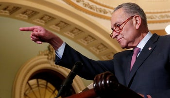 U.S. Senate Minority Leader Chuck Schumer (D-NY) addresses Capitol Hill reporters following the Senate Democratic weekly policy lunch at the U.S. Capitol in Washington, U.S., November 27, 2018.