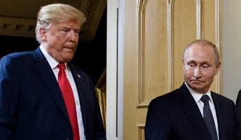 FILE Photo: U.S. President Donald Trump and Russian President Vladimir Putin arrive for a meeting in Helsinki, July 16, 2018.