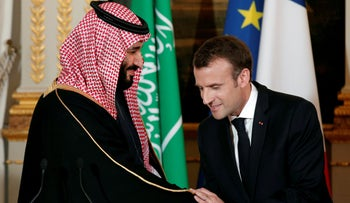 FILE PHOTO: French President Emmanuel Macron and Saudi Arabia's Crown Prince Mohammed bin Salman attend a press conference at the Elysee Palace in Paris, France, April 10, 2018.