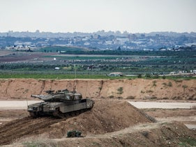 An Israeli tank at the Gaza border, November 16, 2018.