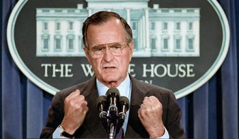 Former U.S. President George H.W. Bush holds a news conference at the White House in Washington, on June 5, 1989.
