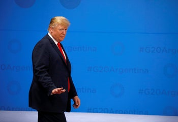 U.S. President Donald Trump arrives for the G20 leaders summit in Buenos Aires, Argentina November 30, 2018