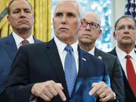 File photo: U.S. Vice President Mike Pence speaks after U.S. President Donald Trump, not pictured, signed the America's Water Infrastructure Act of 2018 in Washington, D.C., October 23, 2018.
