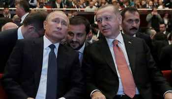 Russian President Vladimir Putin and Turkey's President Recep Tayyip Erdogan, November 19, 2018.