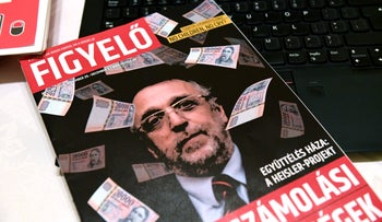 The front page of Hungarian magazine 'Figyelo' with a portrait of Andras Heisler, head of the Federation of Hungarian Jewish Communities.
