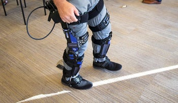 Keith Maxwell, Senior Product Manager of Exoskeleton Technologies at Lockheed Martin, demonstrates an Exoskeleton during a Exoskeleton demonstration and discussion, in Washington, U.S., November 29, 2018
