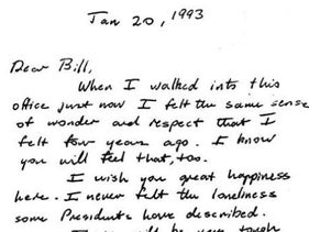 Image from the note Bush wrote Clinton to read on his first day in office