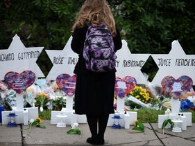 File photo: Memorial outside the Tree of Life synagogue, Pittsburgh, October 29, 2018,