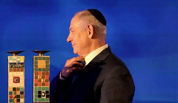 Israeli Prime Minister Benjamin Netanyahu at a Hanukkah celebration in Ramat Gan, December 2, 2018.