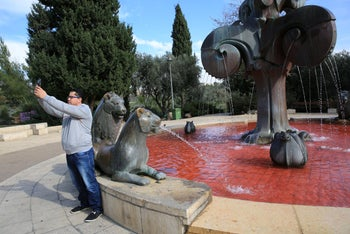 Ahead of the anti-femicide protests, feminist activists on poured red water – to symbolize blood – into public water fountains in Tel Aviv, Haifa and Jerusalem. December 3, 2018