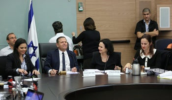 Justice Minister Ayelet Shaked (left) at the Knesset committee with Deputy Attorney General Dina Zilber (right), December 3, 2018.
