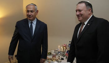Prime Minister Benjamin Netanyahu and U.S. Secretary of State Mike Pompeo in Brussels, December 3, 2018.