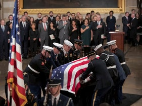 The flag-draped casket of former President George H.W. Bush carried into the Capitol Rotunda in Washington, December 3, 2018.