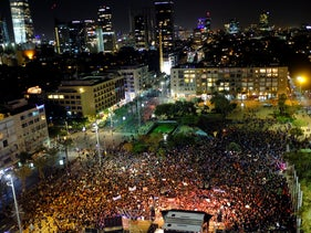 Some twenty thousand demonstrators protest violence against women, Tel Aviv, December 4, 2018