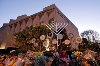 A menorah is installed outside the Tree of Life Synagogue in preparation for a celebration service at sundown on the first night of Hanukkah, December 2, 2018 in Pittsburgh.