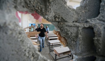 School damaged by Israeli shelling in Khan Younis, southern Gaza, September 15, 2018.
