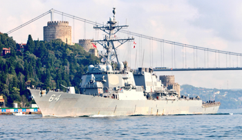 The USS Carney departs the Black Sea through the Bosporus, August 2018.