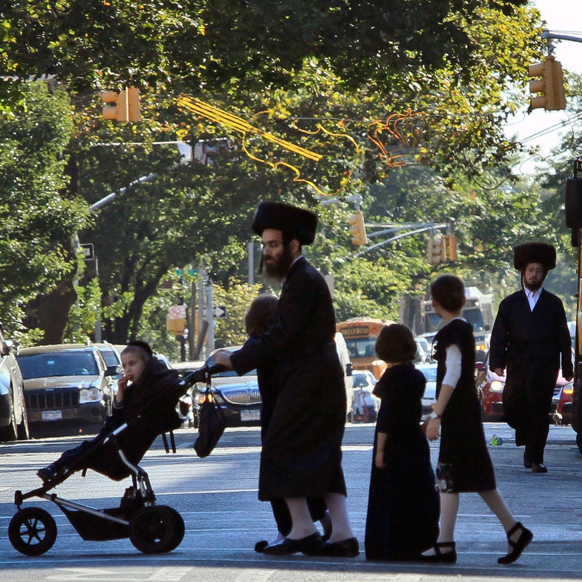 ultra-Orthodox residents of Borough Park, Brooklyn, during the Sukkot holiday, September 20, 2013.