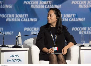 FILE Photo: Meng Wanzhou, Executive Board Director of the Chinese technology giant Huawei in Moscow, Russia, October 2, 2014.