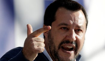 Deputy-Premier and leader of the League party Matteo Salvini addresses a rally in Rome's Piazza del Popolo, Saturday, Dec. 8, 2018.