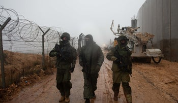 Israeli soldiers at Israel's border with Lebanon on December 8, 2018.