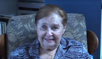 Screen grab: Charlotte Adelman talks about her recollections of the Holocaust, July 29, 2014.