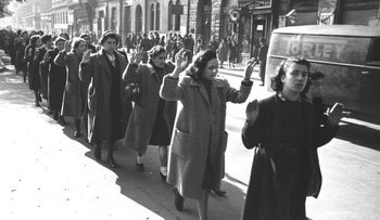 Jewish women under arrest on Budapest's Wesselényi Street, October 1944.