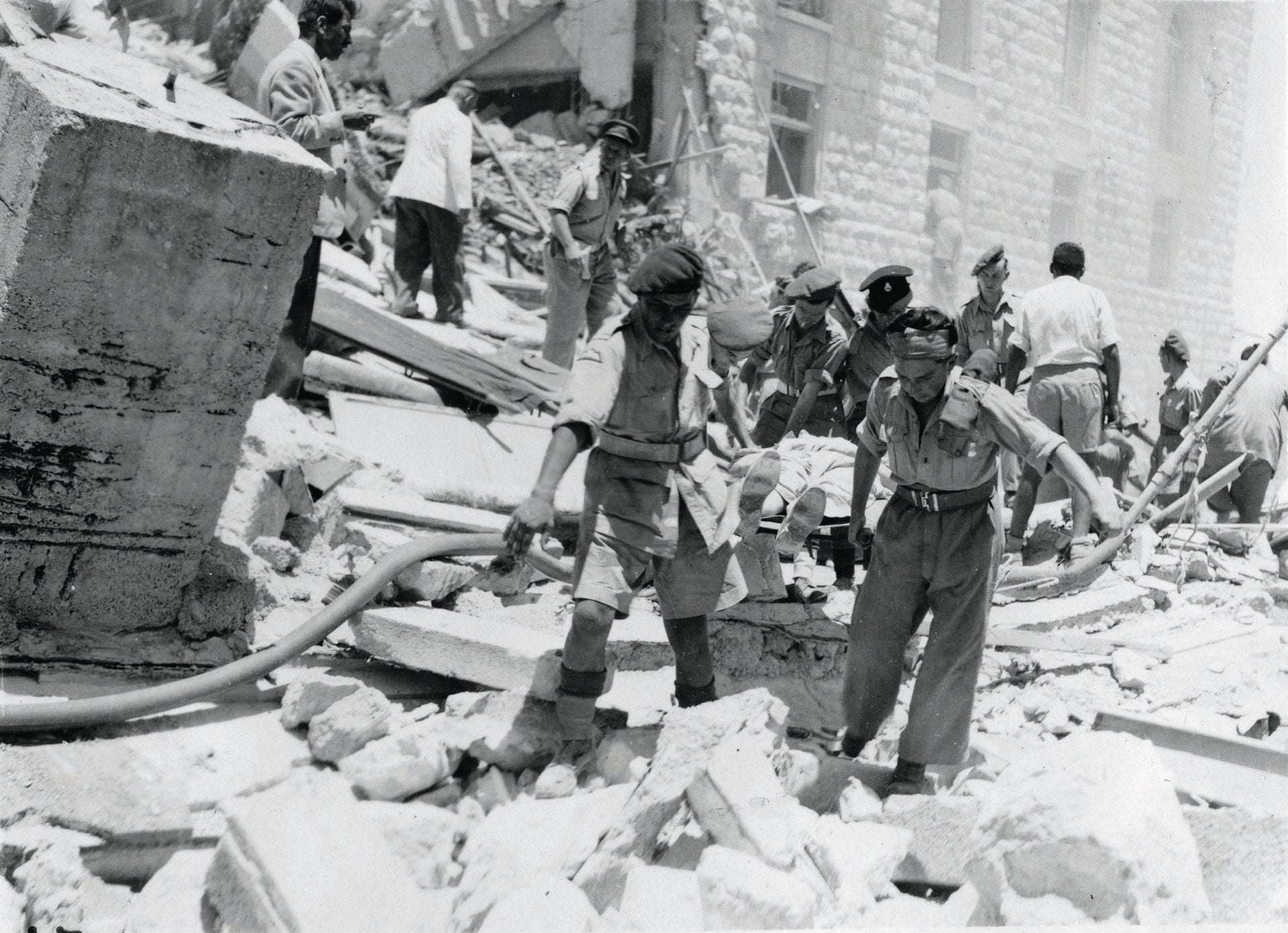 The aftermath of the 1946 attack on the King David Hotel in Jerusalem