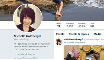 Image of Michelle Goldberg's official Twitter account