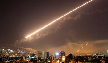 Missiles in the skies of Damascus, April 2018.