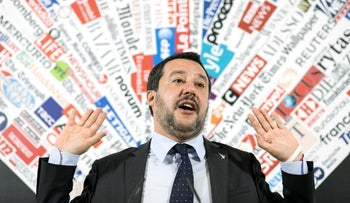 Matteo Salvini, Italy's deputy prime minister, at a news conference at the Foreign Press Association in Rome, Italy, December 10, 2018