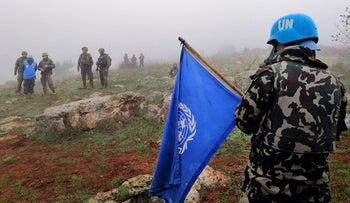 UN peacekeepers are seen from Meis al-Jabal village in south Lebanon, December 9, 2018.
