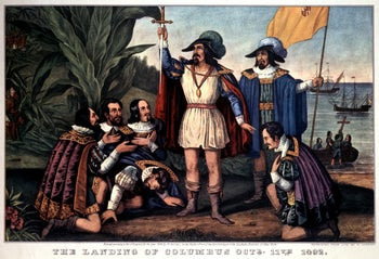 An 1846 print of Christopher Columbus landing in the New World. His crew would have included Jews fleeing the Spanish Inquisition.