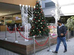 Christmas tree erected outside the Big Fashion mall in the southern city of Ashdod, Israel, December 11, 2018.
